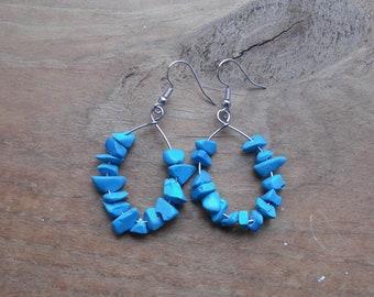 Blue stone medium tear drop hoops