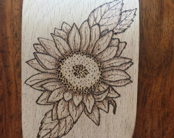 Wooden Spoon/Spatula, Sunflower, Pyrography