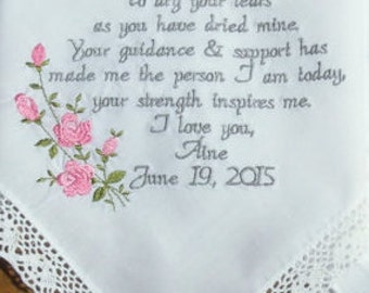 Wedding Gift Wedding Handkerchief Gifts for Mom Embroidered Wedding Hankerchiefs Mother Wedding Gifts Canyon Embroidery