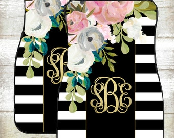 Monogram Car Mats-Car Accessories-Car Mats-Personalized Car Mats-Monograms-Stripe Car Mats-Watercolor Flowers-Floor Mats