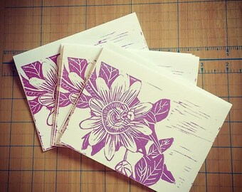 Romantic card with original block print of a passionflower