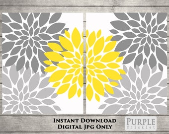 Instant DOWNLOAD Printable Yellow and Gray Flower Bursts Gray Room Decor SET 2-8x10 Digital JPEG File (109)