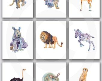 Nursery Print Set, Safari  Nursery, Animal art, Watercolor Painting, Kids Art, Childrens  Art Prints