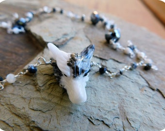 Wolf In Sheep's Clothing Xiii. Carved Zebra Marble Stone Wolf Head, Dendrite Opals, Hematite, & Sterling Rosary Necklace Occult Goth Edgy