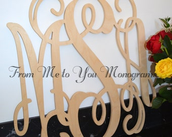 Wooden Monogram - Monogram Wall Hanging - Wedding Monogram - Wooden Letters - Nursery Decor - Vine Script Wooden Monogram - Wall Hanging