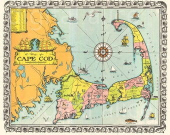 Old CAPE COD MAP download- Colorful 1939 Cape Cod Mass Pictorial Instant Download Digital Printable-  - 2 sizes