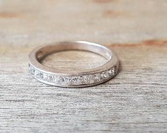 Vintage Silver Channel Set Ring , Sterling Silver, Stacking Ring , Gifts For Her