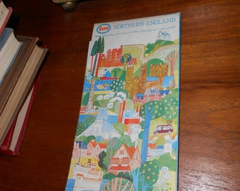 vintage road map of northern england 1978 collectable shabby chic paper ephemera