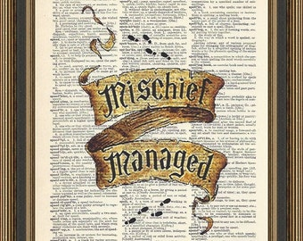 Harry Potter Mischief Managed scroll with footprints printed on a vintage dictionary page. Book quote, Hogwarts Print, Harry Potter Print.