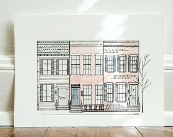 Georgetown Row Houses, 8x10 Giclee Print
