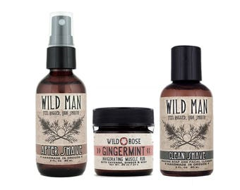 Mens Grooming Kit - Wild Man SHAVING Gift Basket - Shaving Soap After Shave and Muscle Rub