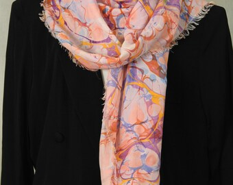 Marbled Silk Scarf Multicolored Bubbles