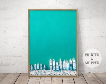 teal wall art, beach wall art, nautical art, boat print, boat wall art, boat print, boat wall art, ariel print, ariel art