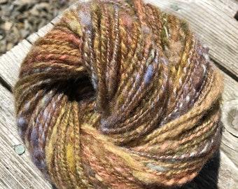 Hand Spun Hand Dyed Textured Rambouillet Slub Yarn- Light Worsted Weight