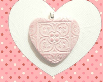 Handstamped Heart Pendant or Necklace or Pin Brooch, Wedding Bouquet Charm, Light Pink Jewelry, handmade polymer clay