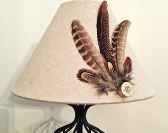 Feather & Cartridge Lampshade - Oatmeal Linen H15.5 x Dia 25cm