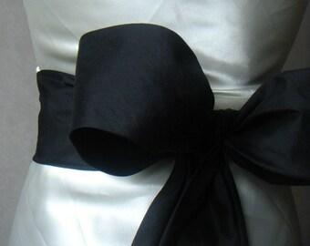 Agnes quality black dupioni silk obi / sash belt
