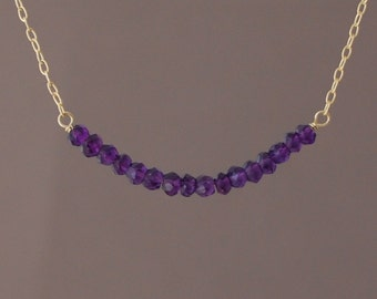 Purple Amethyst Beaded Necklace available in gold, rose gold, or silver