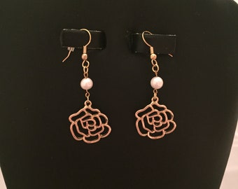 14K Gold Plate Findings with Real Freshwater Pearls and Rose Earrings