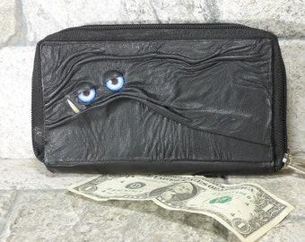 Brieftasche Frau Kupplung mit Monster Gesicht Doppel-Reißverschluss-Organizer schwarz Leder 241