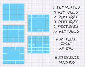 Pack Bundle templates photo collage storyboard 20x16 5 templates 9, 13, 17, 21, 33 pictures ref pack005