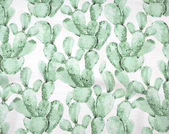 Double Gauze Fabric, Green Paddle Cactus - 100% cotton muslin fabric by the half yard - great for baby swaddle blankets