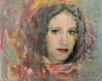 Art Portrait, Montage, Custom, Personalize, Textural On Wood Panel, Great Gift,