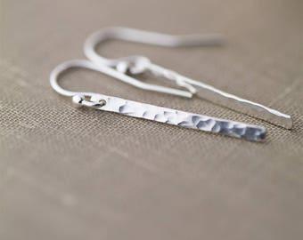 Minimal Hammered Bar Earrings for Women, Handmade Jewelry, Sterling Silver Dangle Earrings, Sister Gift for Women, by Burnish, Clothing Gift