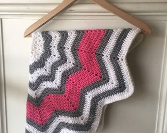 Pink, White, and Grey Crocheted Baby Blanket