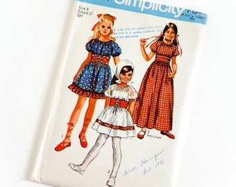 SALE Vintage 1970s Girls Size 8 Peasant Dress in Two Lengths Simplicity Sewing Pattern 9244 Complete / chest 27 waist 23.5