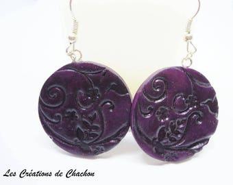 """Deep Purple polymer clay """"stamped"""" earrings"""