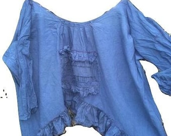 RITANOTIARA OSFA Blue artist shirt patched ticking raw edge asymmetric hem pure cotton hand dyed made to order quirky funky lagenlook gypsy