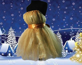 All That Gold Tulle Dress