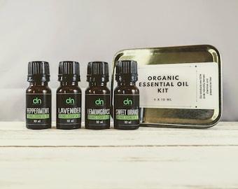 Organic Essential Oil Set -  Essential Oil Kit -  Essential Oil Starter Kit - Travel Kit - Essential Oil Gift - Aromatherapy Oil