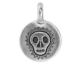 3 TierraCast Skull 5/8 inch ( 17 mm ) Silver Plated Pewter Charms