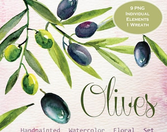 Watercolor Olives clipart, wedding clip art, digital clipart, hand painted
