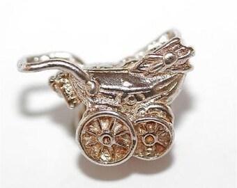Vintage Baby Carriage Stroller Sterling Silver Bracelet Charm / 3d Detail (3.4g)