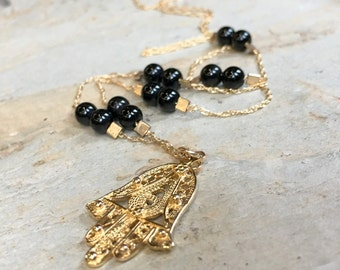 Hamsa gold filled necklace, Onyx Necklace, gemstone necklace, hand of Fatima necklace, charm pendant, filigree charm - A place to love N2029