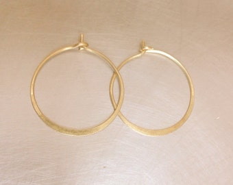 Small Gold 14k Hoop Earrings 16mm Thin Minimalist