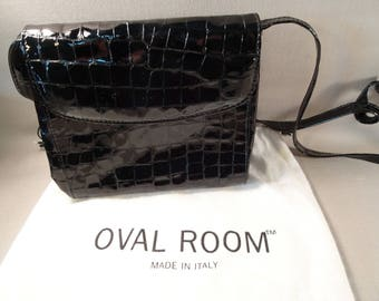 Italian Calfskin Patent Leather Purse Dayton's Oval Room Faux Alligator
