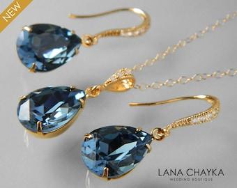 Denim Blue Gold Jewelry Set Dark Blue Earrings&Necklace Bridal Set Swarovski Blue Gold Jewelry Set Prom Jewelry Bridesmaid Blue Crystal Set