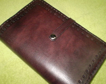 Dark Mahogany Leather Journal Cover With Snap Closure
