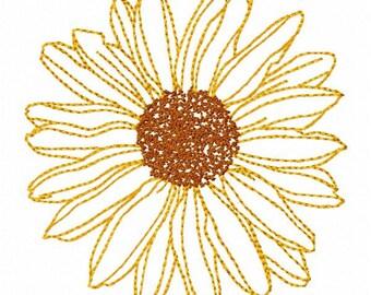 Sunflower Machine Embroidery Design - Instant Download