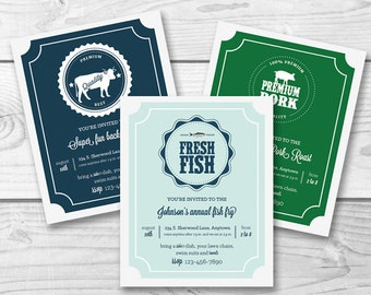BBQ Printable Party Invitation - barbecue, pig roast, fish fry