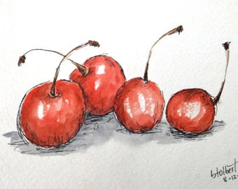 Red Cherries Fruit Original Watercolor Art Painting Pen and Ink Watercolor Hand Painted Flower