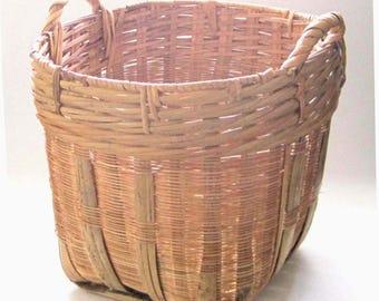 Large Woven Basket, Boho Basket, Natural Split Bamboo, Garden, Gathering Basket, Kitchen Storage, Magazines, Farmhouse Chic Decor, Gift Idea