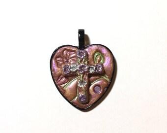 Flowered Cross Heart Pendant , 25 mm