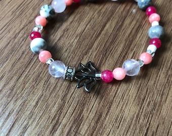 Pink Quartz Lotus Bracelet