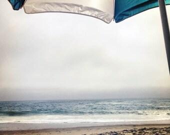 Shade - 12 x 12 Beach Photograph - Seascape - Ocean Scene - Surreal Scene - Beach Umbrella