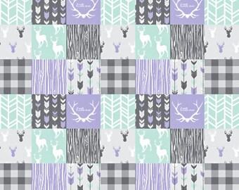 Baby Girl Quilt, Mint Purple Gray Grey Antler Deer Plaid Little One Woodland Baby Quilt, Crib Bedding, Patchwork, Minky Baby Blanket, Modern